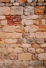 Muro pietre e mattoni, antico, rovina