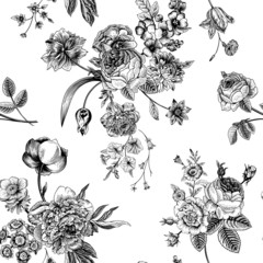 Seamless vector vintage pattern with Victorian bouquet.