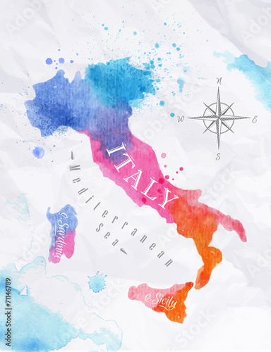 Poster Watercolor map Italy pink blue