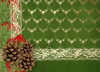Christmas greeting card with branches of spruce, cone and ribbon