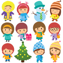cute winter kids clip art set