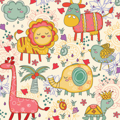 whimsical animals illustration