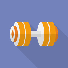 Sport dumbbell icon. Modern Flat style with a long shadow
