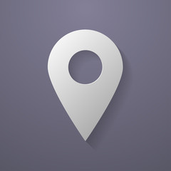 Icon of map pointer. Paper style