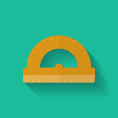 Protractor icon. Flat style.