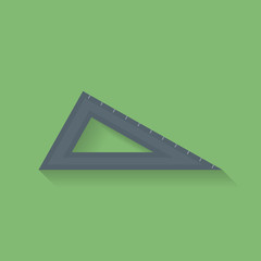 Icon of triangle ruler. Flat style