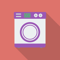 Washing machine icon. Modern Flat style with a long shadow