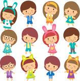 Fototapety happy children clip art set