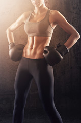 Strong boxing woman ready to fight