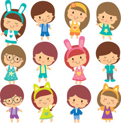 happy children clip art set