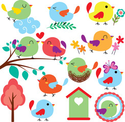 cutie birds clip art set