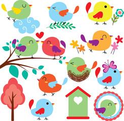 cutie birds clip art set