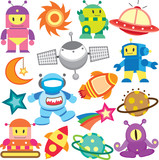 outer space and robot clip art set poster