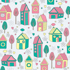 houses and trees background illustration