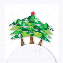 Three green Christmas fir trees on the hill on white background.