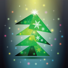 Green Christmas fir tree on colorful background.