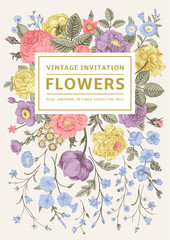 Vertical invitation. Vintage greeting card.