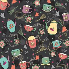 coffee and tea wallpaper design
