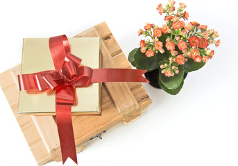 Gift and flowers