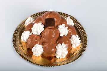 Italian pastry: chocolate profiteroles