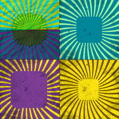 Set Vintage Colored Rays background. EPS10. Vector