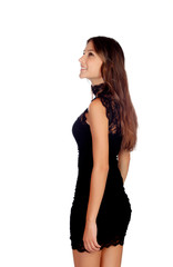 Elegant girl with a short black dress