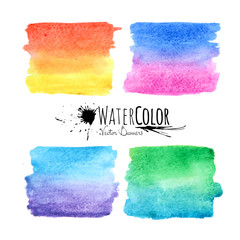 Watercolor textured paint stains colorful set
