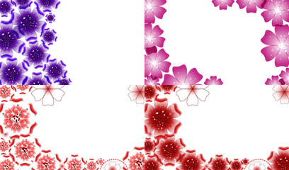 Set of background with Flowers isolated on white sample text.