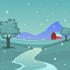 Winter Farm Landscape