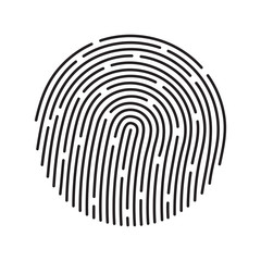 Fingerprint identification system, black symbol isolated on