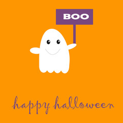 Boo for Halloween with cute ghost