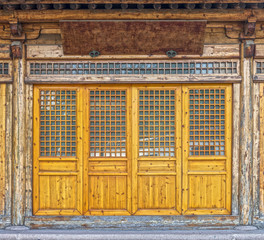 The front of vintage wooden house in China