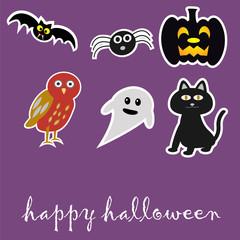Halloween Sticker with ghost,spider,pumpkin lantern,bat and cat