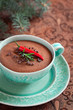 Chocolate mousse with rosemary and chilli pepper