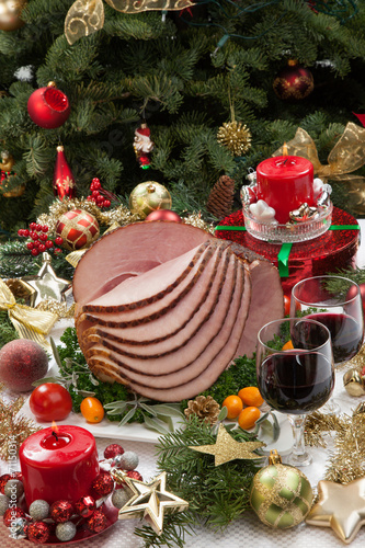 canvas print picture Christmas Glazed Ham