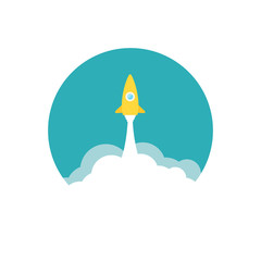 Yellow rocket and white cloud, circle icon in flat style, vector