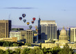 City of Boise skyline with hot air balloons