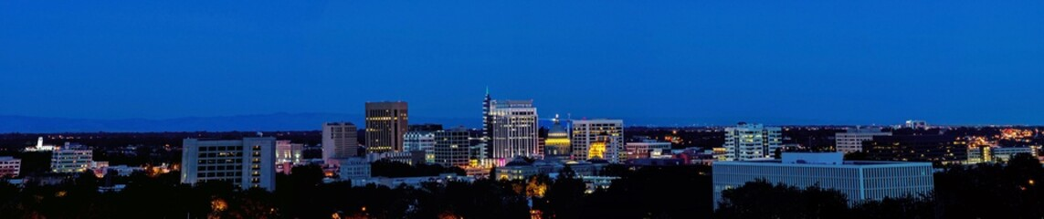 City light of Boise Idaho Panorama