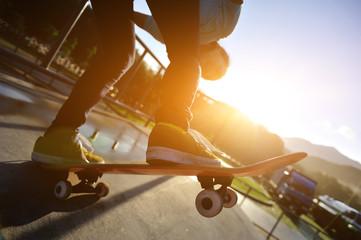 skateboarding on sunrise skatepark