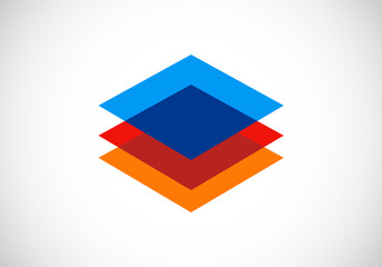 level square geometry color construction vector logo