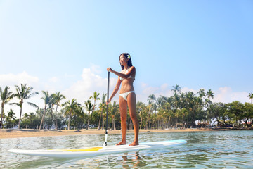 Hawaii beach lifestyle woman paddleboarding