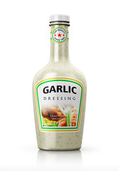 Bottle with garlic dressing