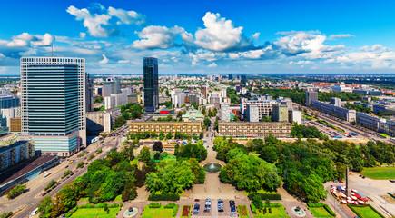 Aerial panorama of Warsaw, Poland