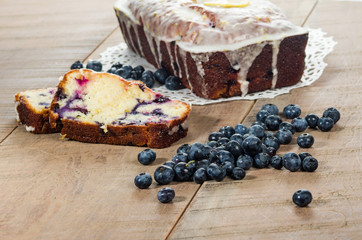 Blueberry coffee cake loaf with blueberries