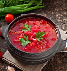 Traditional Ukrainian Russian vegetable borsch