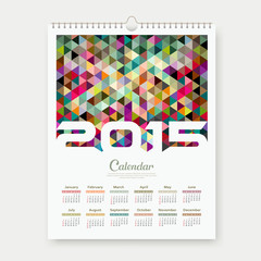 Calendar 2015 colorful triangle geometric template
