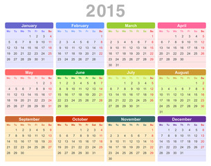 2015 year annual calendar (Monday first, English)