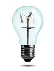 Eco bulb with wind turbine isolated on white