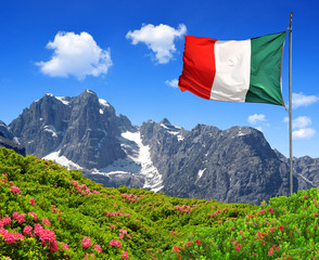 Mountain Brenta with Italy flag - Dolomites Italy