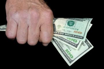 money in man's fist